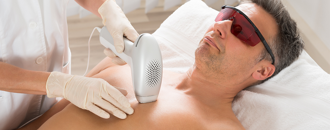 Male Med Spa Client Receiving Laser Hair Removal in Albany NY at Complexions Spa