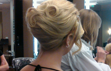 Blonde curly bride updo, Hair Dresser, Saratoga Springs, NY - Complexions Spa for Beauty and Wellness
