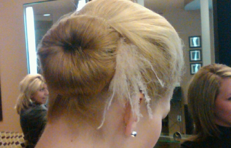 Blonde Bride with feathered updo, Hair Dresser, Saratoga Springs, NY - Complexions Spa for Beauty and Wellness