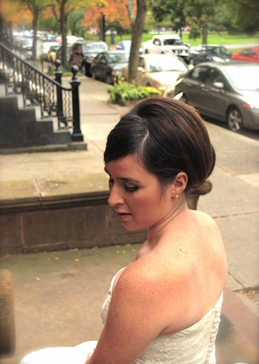 Bride Bailey with Updo, Hair Dresser, Saratoga Springs, NY - Complexions Spa for Beauty and Wellness