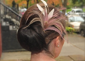 Bride With Feathered Updo, Hair Dresser, Saratoga Springs, NY - Complexions Spa for Beauty and Wellness