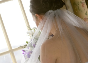 Bride's Vail, Window Photo, Hair Stylist, Saratoga Springs, NY - Complexions Spa for Beauty and Wellness