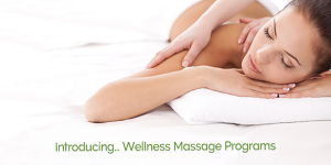 Women Lying on Stomach Enjoying a Back Massage with Words: Introducing Wellness Massage Programs.
