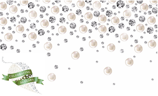 Complexions Spa & Salon 30th Anniversary Logo with Falling Diamonds